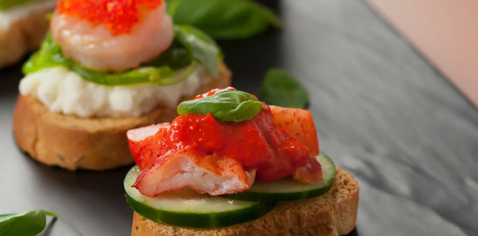 Seafood Bruschetta with Robster Roe Paste