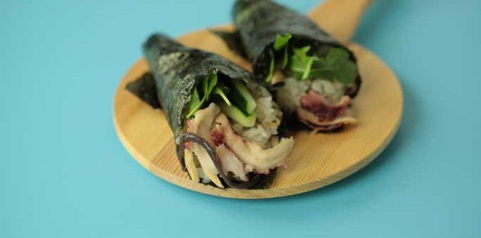 Gari Tako Hand Roll Sushi