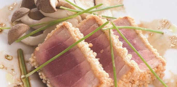 Seared Tuna coated with Masago Arare