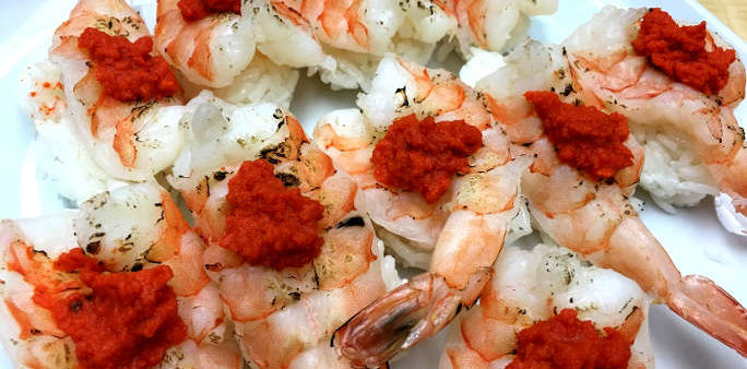 Shrimp Bite with Lobster Roe Paste