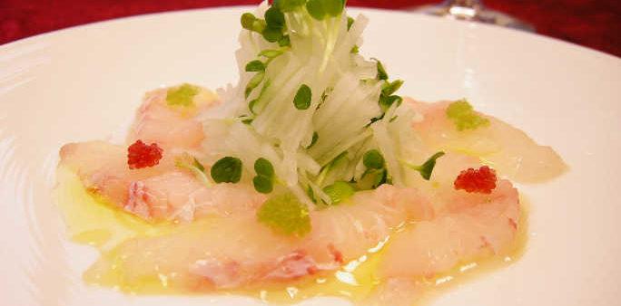 White Fish Carpaccio with Tobikko