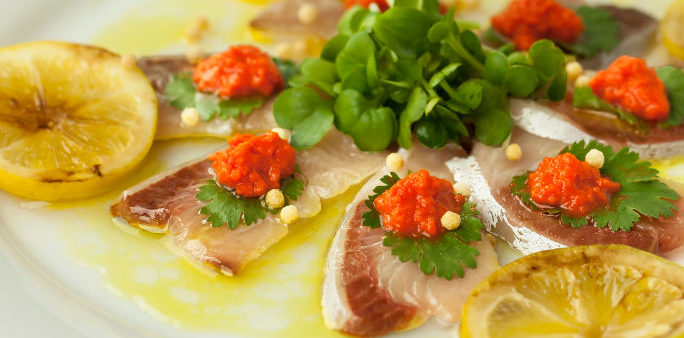 Yellowtail Carpaccio with Lobster Roe Paste