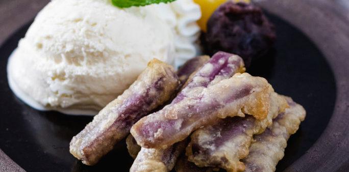 Purple-Sweet-Potato-Tempura-with-Ice-Cream